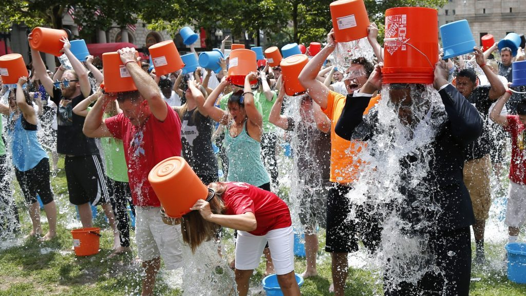 Image of the ice bucket challenge taking place.
