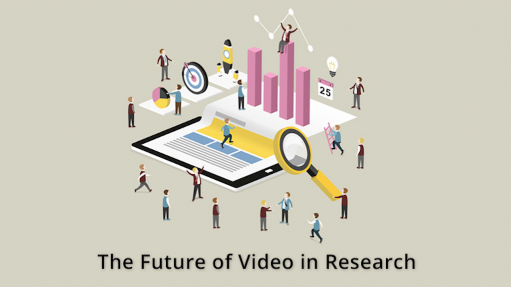 Digital illustrated graphic signifying the future of video in research.