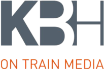 This is an image of the KBH On Train Media brand logo.