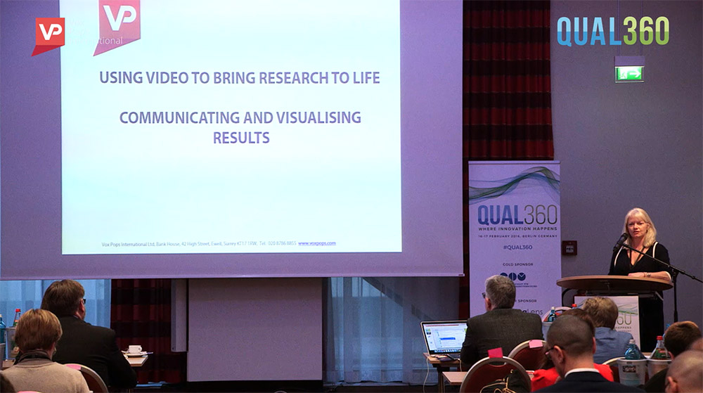 Image of VPI MD, Diane presenting at Qual 360 on the topic of video insight.