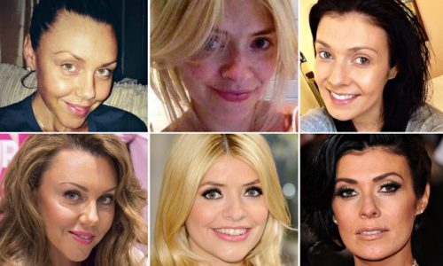 Image of 3 celebrities taking part in the no make up selfie challenge for Cancer Research.