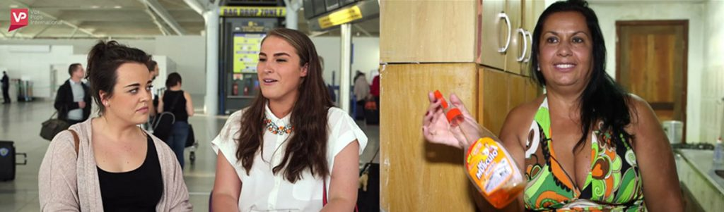 Split image with a vox pop interview on the left and a pre-recruited interview on the right.