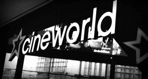 Image of Cineworld logo in black and white.